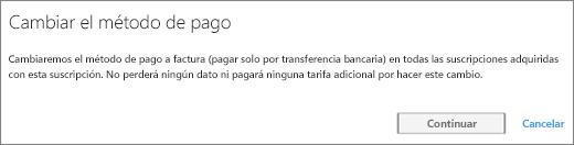 Captura de pantalla de la notificación que se muestra al cambiar del pago mediante tarjeta de crédito a factura.