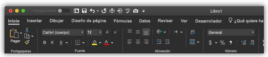 imagen de la cinta de opciones de Excel en modo oscuro