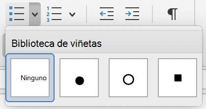 Menú Biblioteca de viñetas en Outlook para Mac.