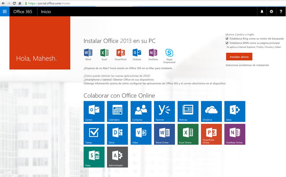 Captura de pantalla de cómo instalar Office 365 en un equipo.