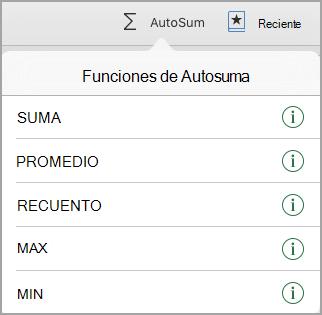 Menú de acciones de Autosuma