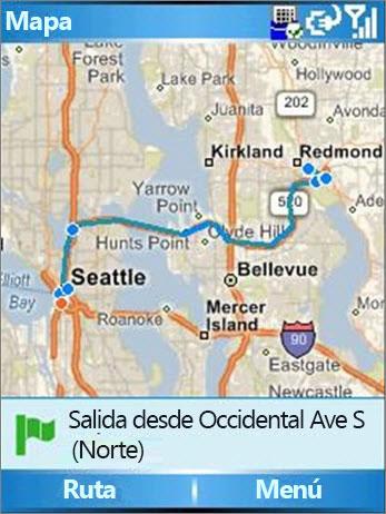 Mapa que muestra la ruta de Seattle a Redmond