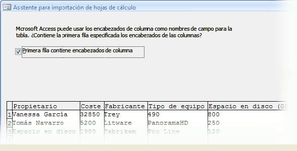 Asistente para importación, pantalla 2