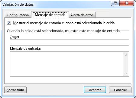 Seleccione el mensaje que desea mostrar a las personas cuando empiezan a usar la lista desplegable en Excel
