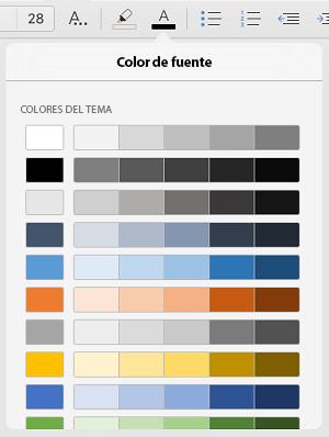 Colores de fuente