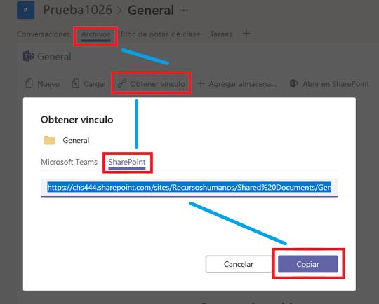 Haga clic en archivos, luego en obtener vínculo, luego en SharePoint y luego en copiar.