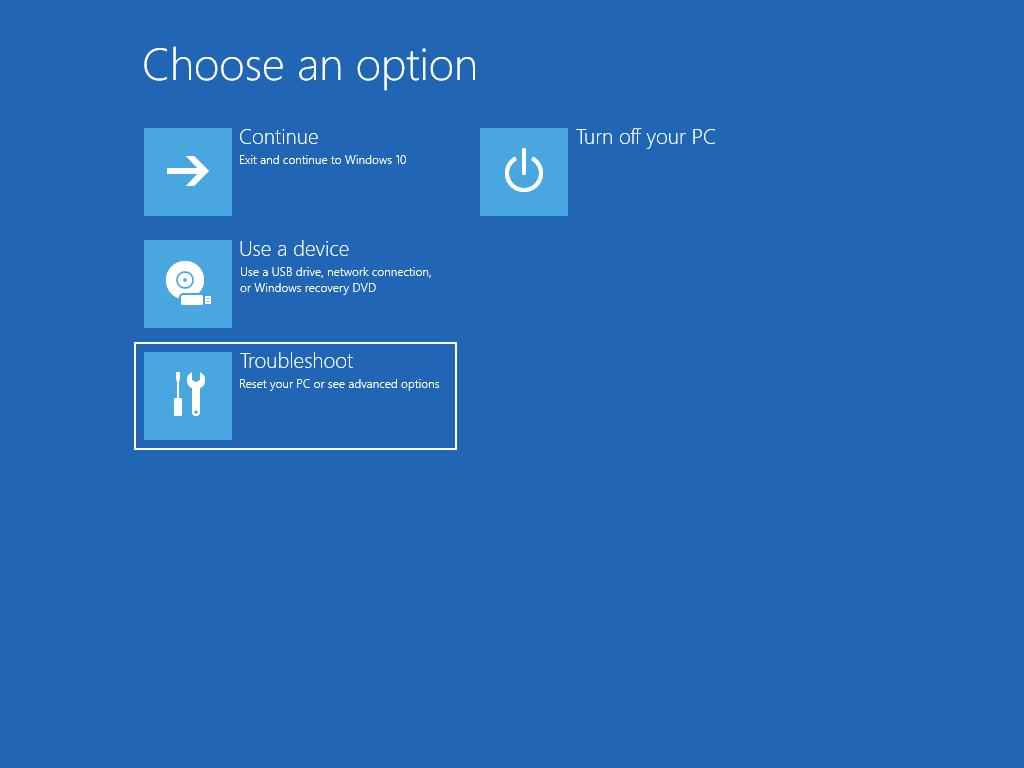 """Muestra la pantalla """"Elegir una opción"""", con la opción """"Solucionar problemas"""" seleccionada."""