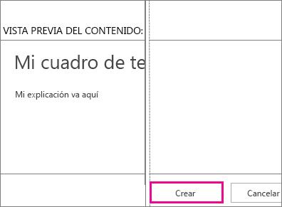 Botón Crear encontrado en el cuadro Agregar texto