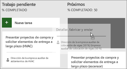 Captura de pantalla del desplazamiento de una tarea desde una columna del Panel de tareas a otra.
