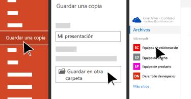 Menú Archivo en el que se muestran las opciones para guardar en la nube