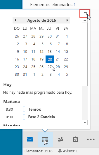 Información del Calendario con el icono de acoplamiento resaltado