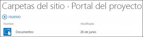Seleccione un sitio en la lista Carpetas de lugares en Office 365 para ver las bibliotecas de documentos de ese sitio.