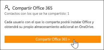 """Captura de pantalla de la sección """"Compartir Office 365"""" de la página Mi cuenta, antes de que la suscripción haya sido compartida con otros usuarios."""