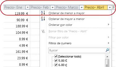 Filtros automáticos que aparecen en los encabezados de columna en la tabla de Excel