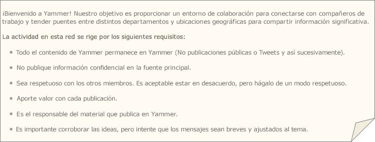 Una política de Yammer de ejemplo