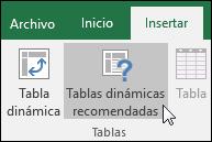 Vaya a Insertar > Tablas dinámicas recomendadas para que Excel cree una tabla dinámica para usted