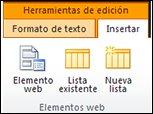Las herramientas de edición en la cinta incluyen el botón Insertar elemento web.