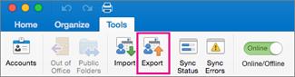 En la pestaña Herramientas, haga clic en Exportar.
