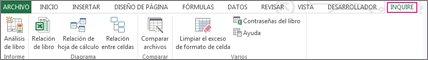 Pestaña Consulta en Excel