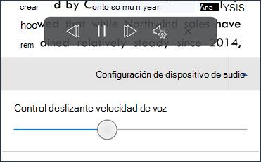 Control deslizante de velocidad de voz