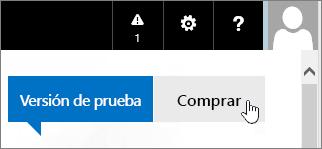 Botón para comprar la evaluación de Office 365