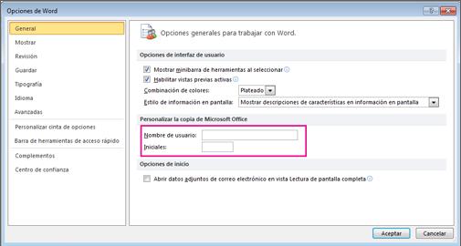 Word 2010 opciones de personalización