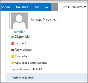 Menú Abrir otro buzón de Outlook Online