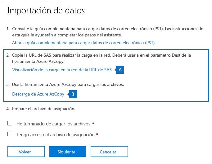 Copie la dirección URL de SA y descargue la herramienta de AzCopy de Azure en la página de datos de importación