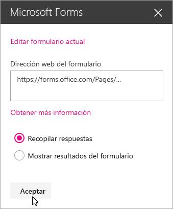 Una vez creado un nuevo formulario, el panel del elemento web Microsoft Forms muestra la dirección web del formulario.