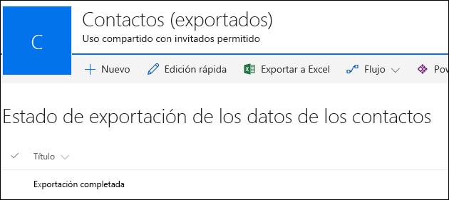 Lista de SharePoint con el registro titulado Exportación completada