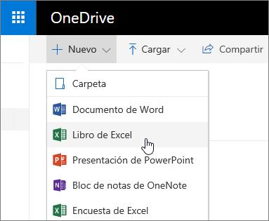 Menú Nuevo de OneDrive, comando Libro de Excel