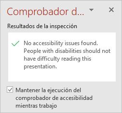 """El panel del Comprobador de accesibilidad con la casilla """"Mantener el Comprobador de accesibilidad funcionando mientras trabajo"""""""