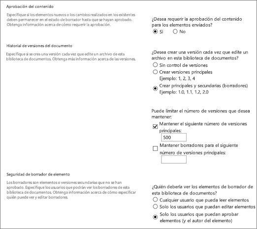 Cuadro de diálogo Opciones de control de versiones