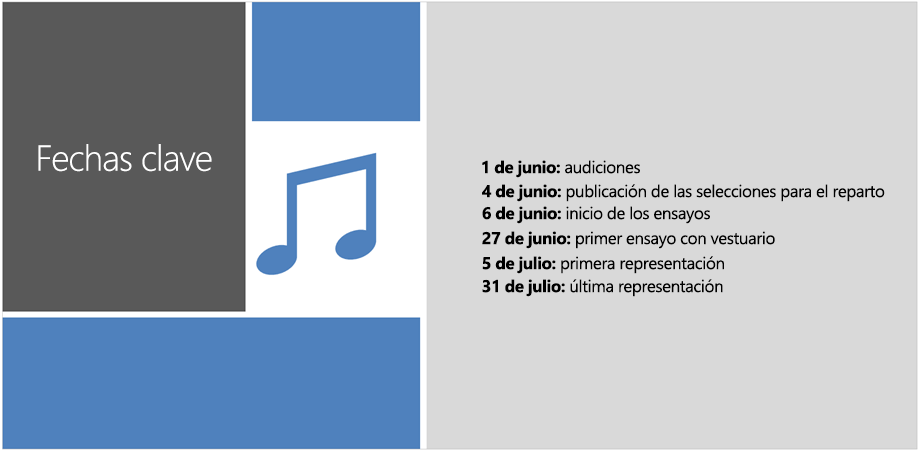 Diapositiva de ejemplo con una escala de tiempo de texto a la que PowerPoint Designer agregó ilustraciones y toques de diseño.