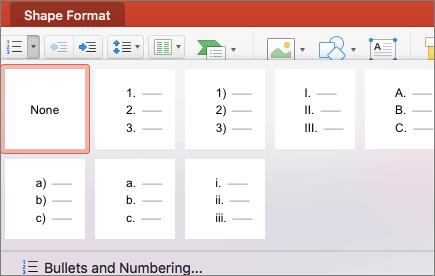 Captura de pantalla de los estilos de numeración disponibles al seleccionar la flecha del botón Numeración