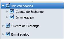 Grupo Mis calendarios de Outlook 2016 para Mac