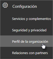 En el centro de administración, vaya a Configuración y después al perfil de la organización.