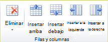 Grupo de filas y columnas de tabla en Publisher 2010