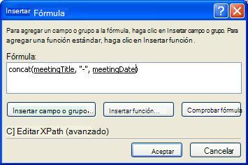 La fórmula terminada en el cuadro de diálogo Insertar una fórmula que genera el nombre del formulario