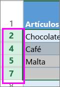 Seleccione el rango de encabezados de filas o columnas ocultas