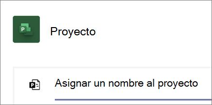 Captura de pantalla del cuadro de diálogo proyecto en Teams, asignar un nombre a un nuevo proyecto