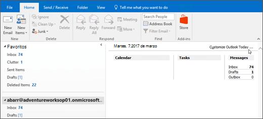 Captura de pantalla de la vista de Outlook para hoy en Outlook, que muestra el nombre del propietario del buzón, el día actual y fecha y asociado calendario, tareas y mensajes para el día.