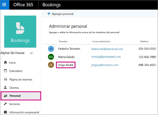 Página de personal de la aplicación de bookings