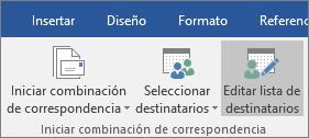 """Como parte de la combinación de correspondencia de Word, en la pestaña """"Correspondencia"""" del grupo """"Iniciar combinación de correspondencia"""", seleccione """"Editar lista de destinatarios""""."""