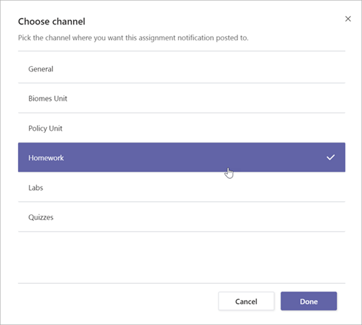 Elija el canal en el que quiere que se publique esta notificación de tarea.