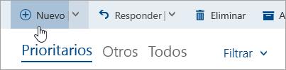 Captura de pantalla del botón Escribir un nuevo mensaje