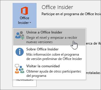 Botón unirse a Office Insider