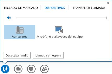 Captura de pantalla de las opciones de audio