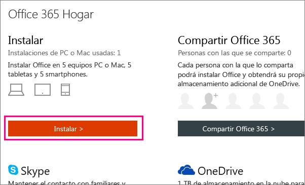 Muestra el botón de instalación en la página Mi cuenta de Office 365 Hogar