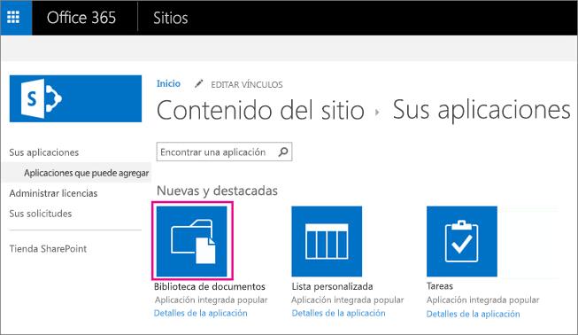 Para agregar un nuevo contenedor de almacenamiento de documentos, en la página Sus aplicaciones, elija el mosaico Documentos.